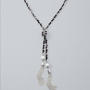 Black woven ribbon in chain long pearl necklace